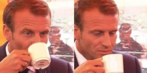 Emmanuel Macron boit du café finlandais