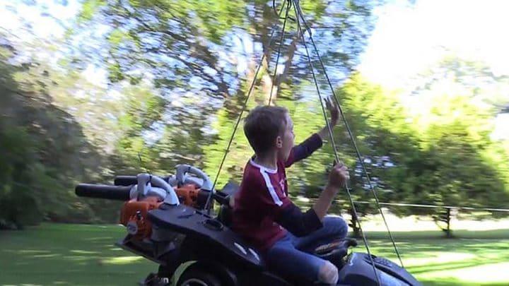 manège bricolage voiture enfants souffleur de feuilles
