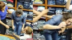 vendeuses frappent une voleuse de jeans