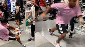 voleur essaie paire de baskets s'enfuie
