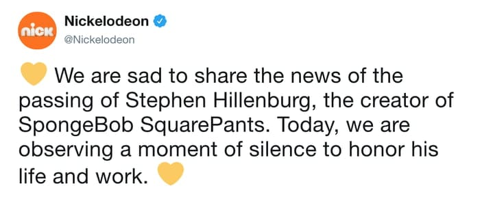tweet nickelodeon annonce la mort du créateur
