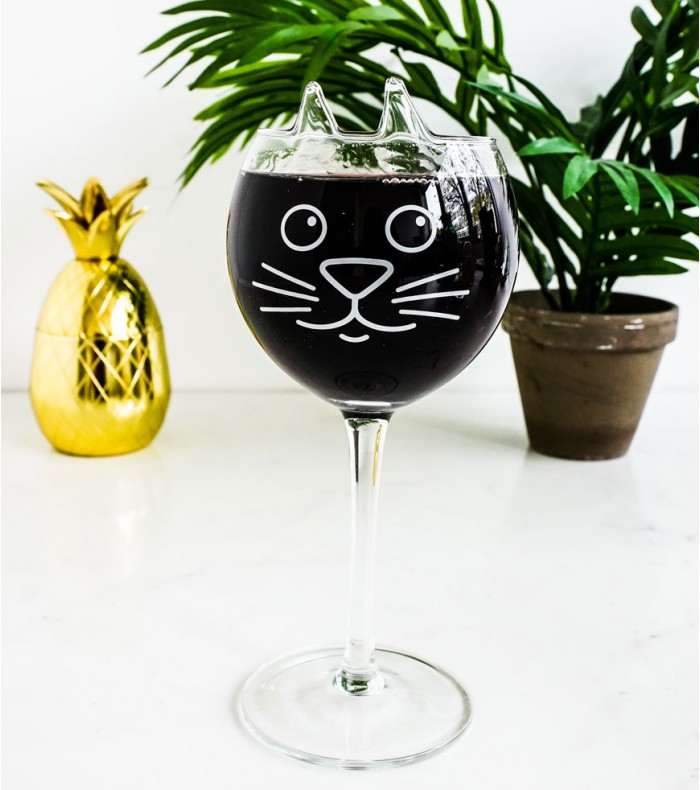 verre vin chat
