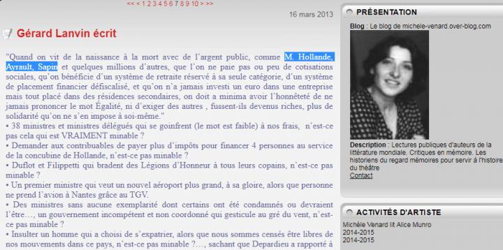 Gérard Lanvin lettre 2013