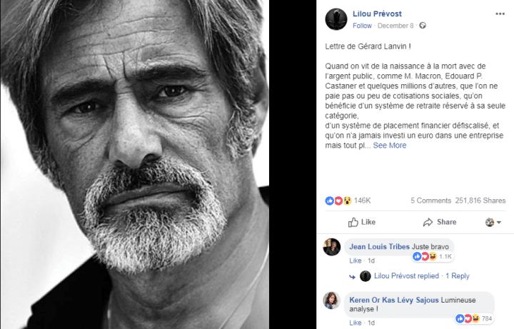 Lettre Gérard Lanvin