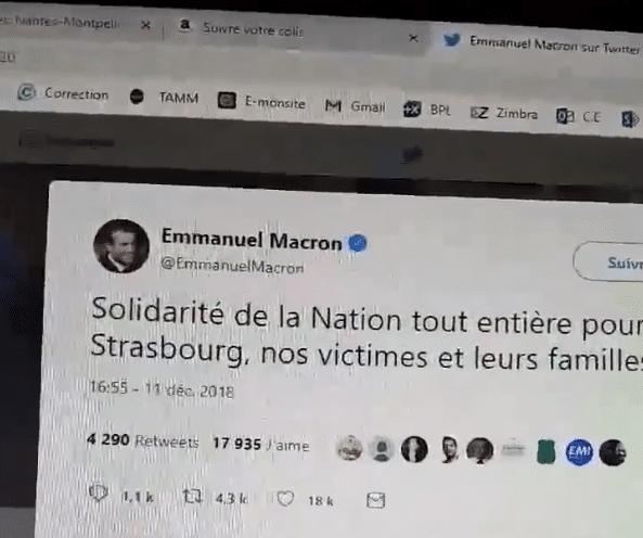 macrontweet attentat strasbourg
