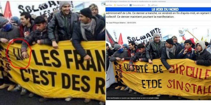 Photomontage banderole raciste