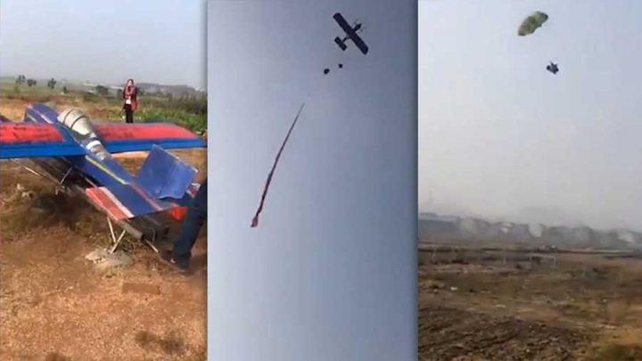 poule parachutée mini avion