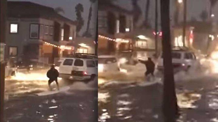 surf sur la route inondée