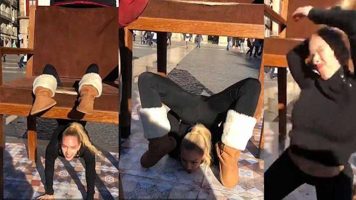 contorsionniste se blesse avec une chaise à barcelone
