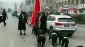 employées humiliées marche à quatre pattes