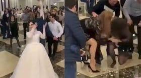 invitées se battent lancer de bouquet de mariée