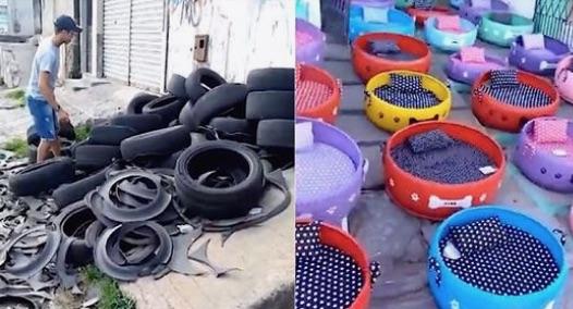 Cet homme recycle de vieux pneus pour les transformer en panier pour animaux