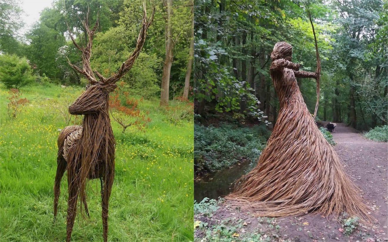 Elle réalise d'impressionnantes sculptures avec des tiges de saule tressées