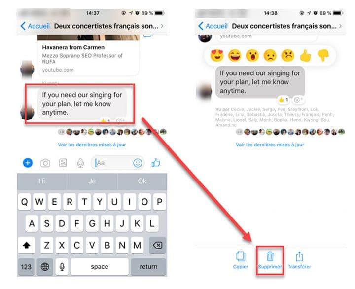 Facebook Messenger : Suppression de messages envoyés enfin mis en place