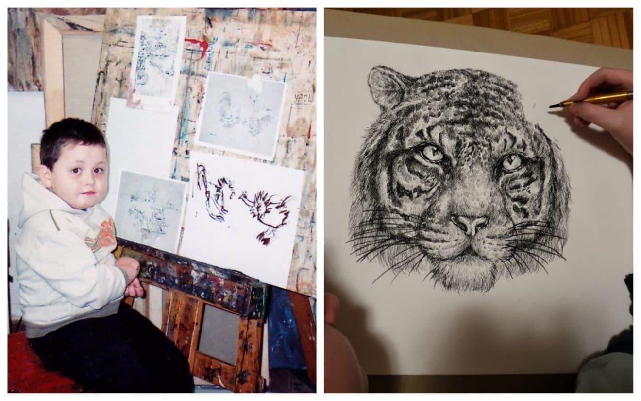 On suit ses talents de dessins de ses 4 à 16 ans