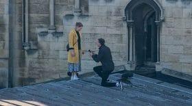 demande en mariage toit de la cathédrale de rochester