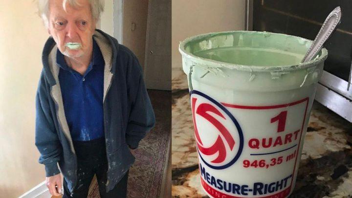 grand-père avale pot de peinture confond yaourt