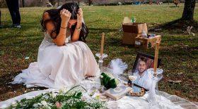 mariée pleure tombe mari mort