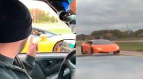 pickup dépasse Lamborghini