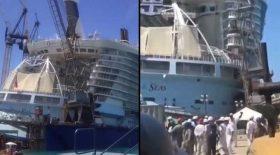 grue s'effondre tombe bateau de croisière