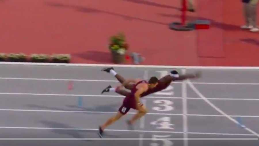 Pour remporter la course, un athlète réalise un envol à la Superman sur la ligne d'arrivée