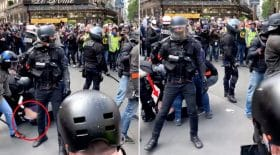 policier matraque pantalon manifestant premier mai