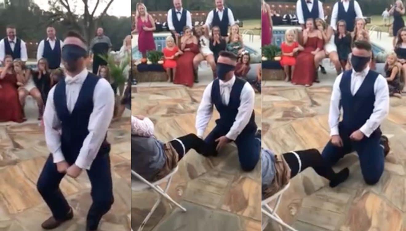 Il pense enlever la jarretière de sa femme mais une surprise l'attend ! (Vidéo)