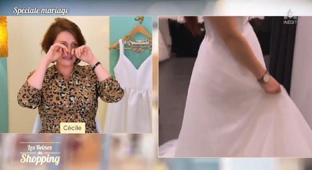 Les Reines du shopping : toutes les candidates se mettent à pleurer devant LA robe de mariée