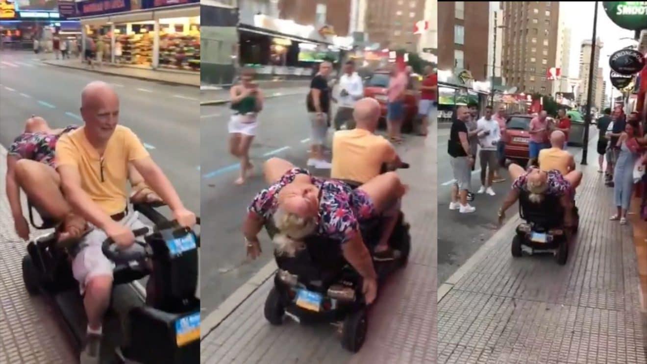 Quand papy ramène mamie complètement bourrée sur son scooter électrique ! (Vidéo)