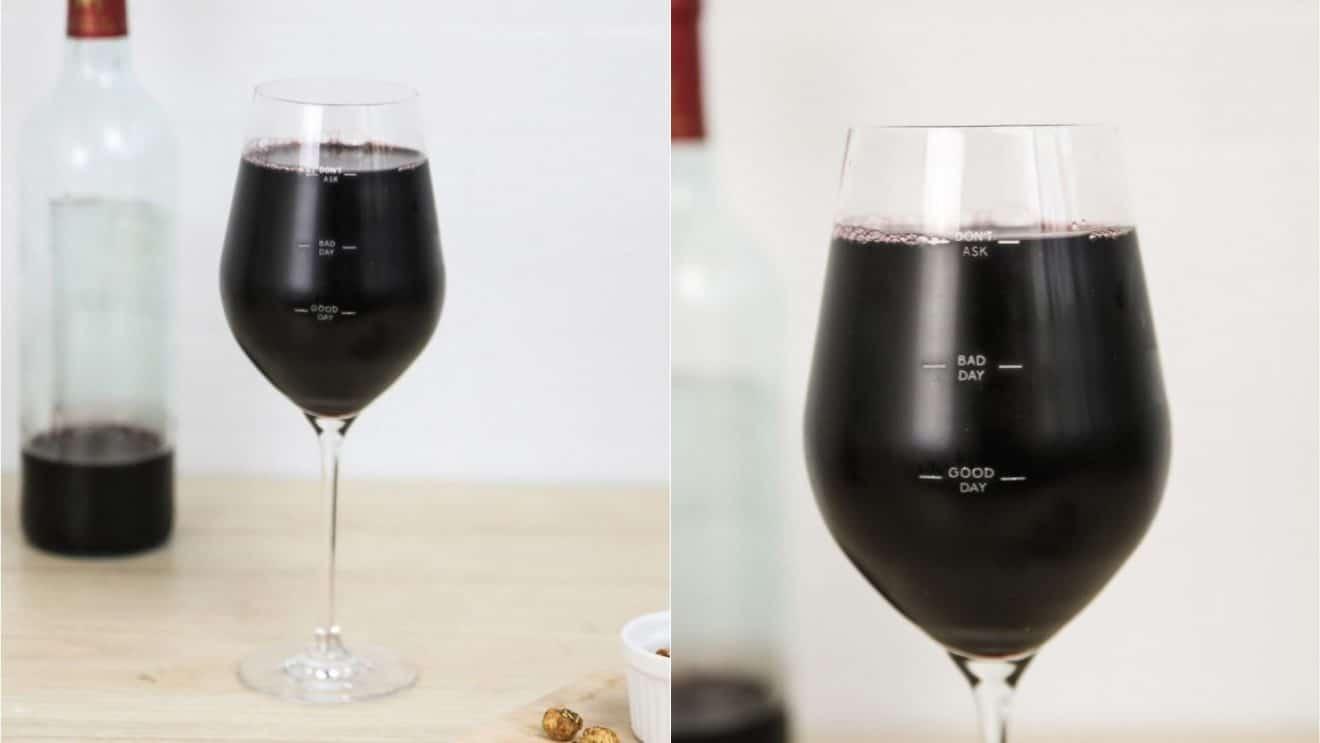 Bonne ou mauvaise journée? Faites le savoir avec ce verre à vin à remplir selon votre humeur