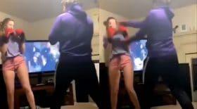 Il boxe avec sa copine, elle va lui mettre une bonne correction