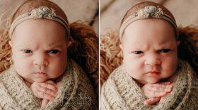 Cette petite fille n'a visiblement pas apprécié son shooting de naissance