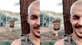 Dean Shneider avec un lion