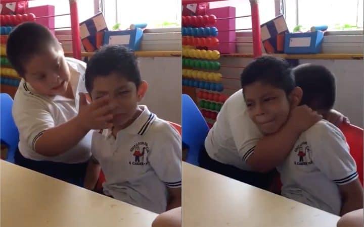 Une vidéo d'un enfant trisomique réconfortant un camarade autiste émeut plusieurs dizaines de millions de personnes (Vidéo)