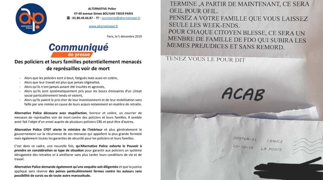 «Votre famille subira les mêmes préjudices et sans remord» : les lettres de menaces glaçantes reçues par des familles de policiers