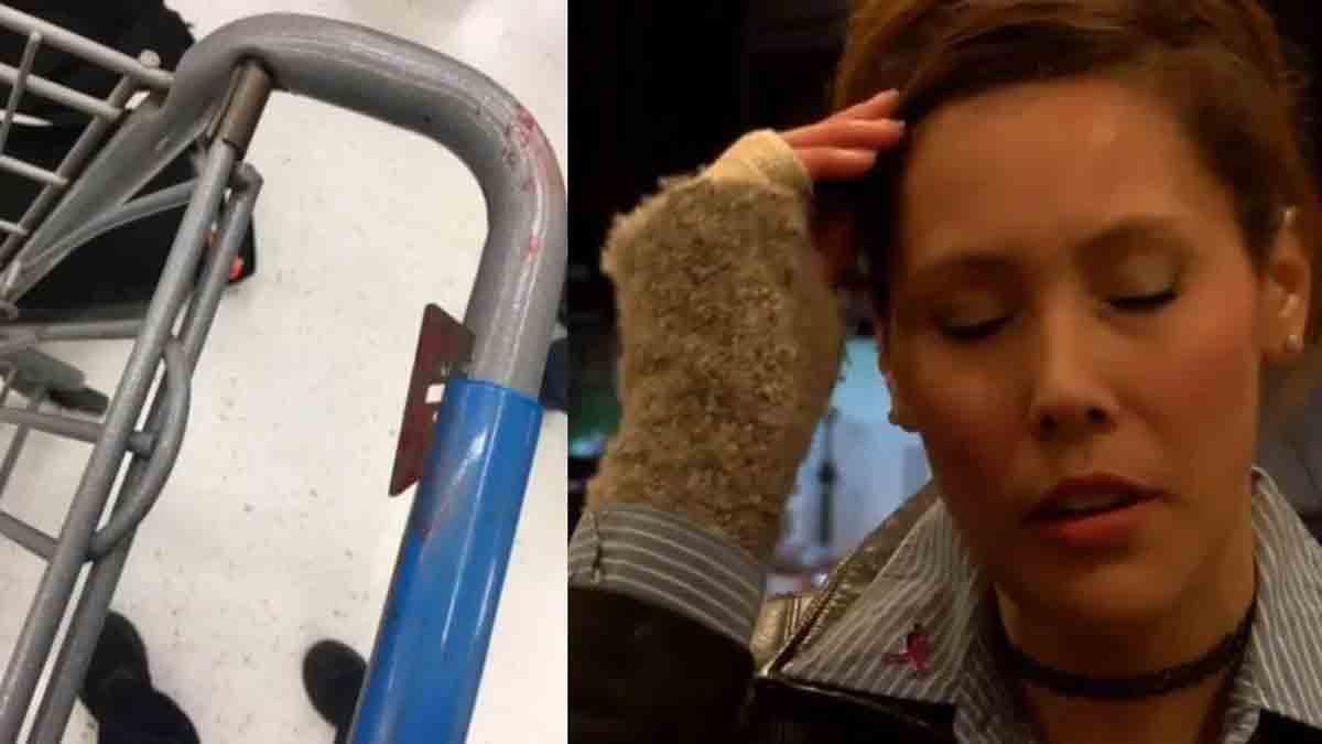 Une lame de rasoir sur la poignée d'un caddie: une mère s'entaille la main en faisant ses courses