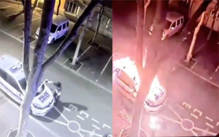 Colombes : il incendie une voiture de police et finit par prendre feu (Vidéo)