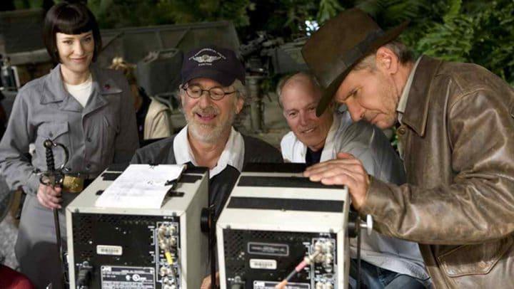 Steven Spielberg et Harrison Ford sur le tournage d'Indiana Jones