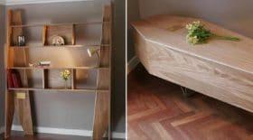 Pour une éthique plus éco responsable, découvrez cette bibliothèque modulable qui se transforme pour devenir votre cercueil !