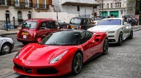 Swarmz accident Ferrari bus londres