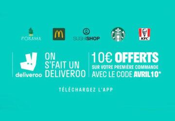 Deliveroo code promo avril 10 euros
