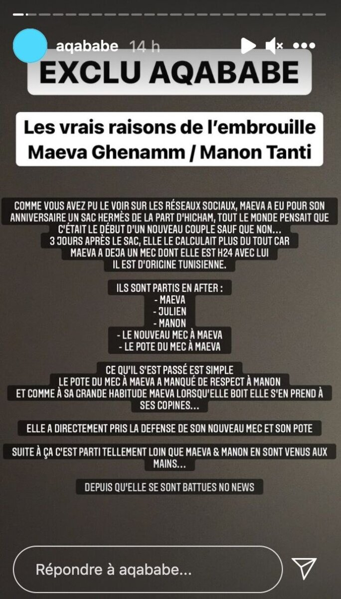 Maeva Ghennam en guerre avec Manon Tanti