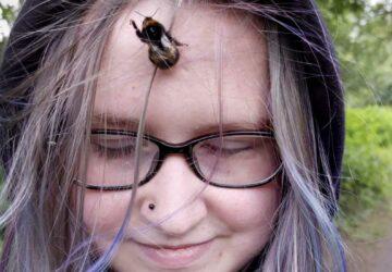 une adolescente adopte un bourdon comme animal de compagnie